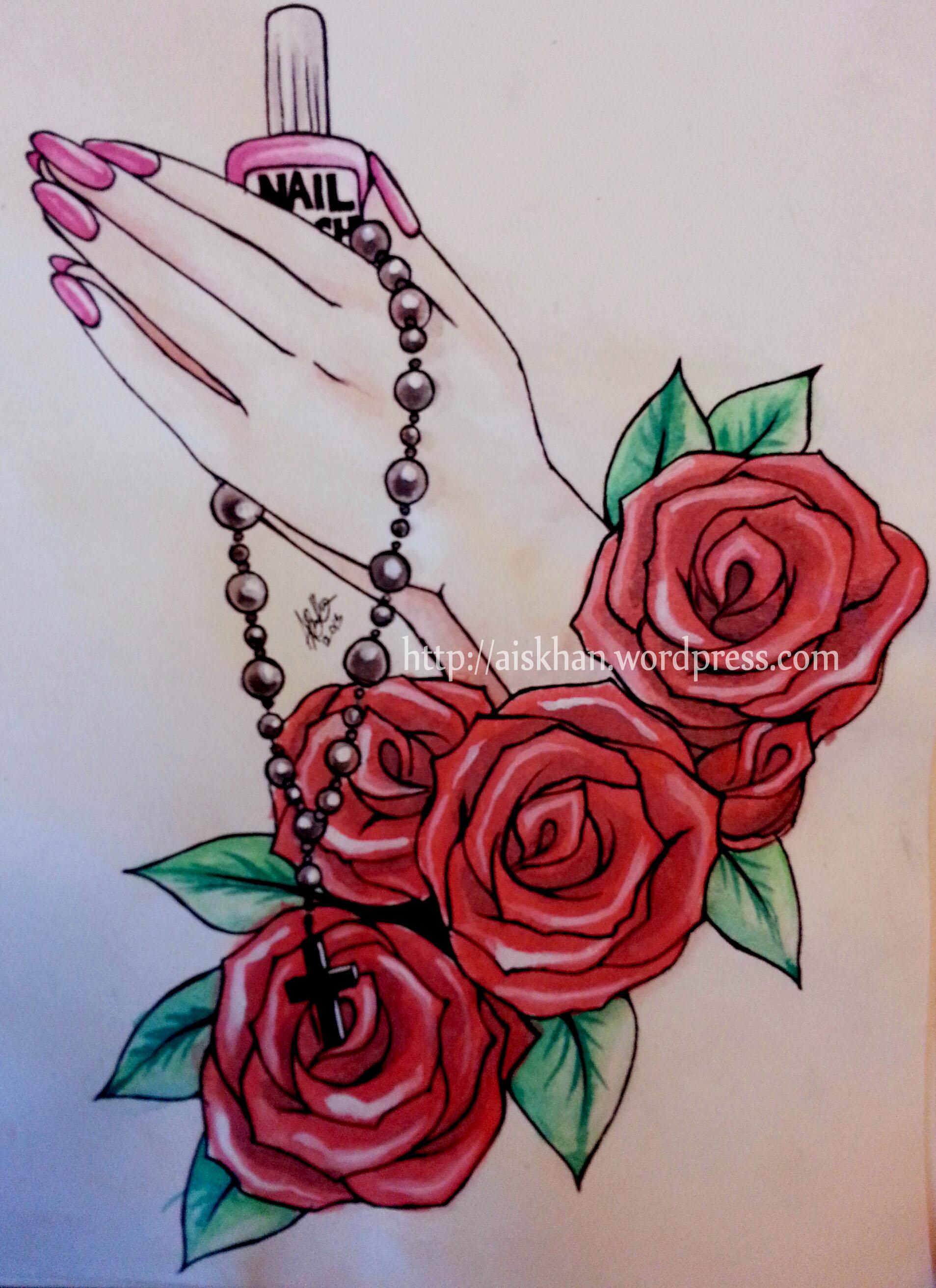 Praying Hands Tattoo Design – Ayesha KhanPraying Hands Drawing With Rose